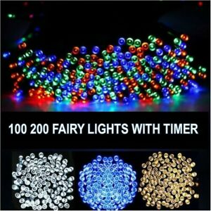 100 / 200 LED BATTERY OPERATED TIMER LIGHTS STRING FAIRY CHRISTMAS FESTIVAL XMAS