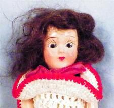 Vintage Hard Plastic Doll Red & White Crocheted Dress Brown Hair & Eyes Retro