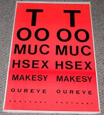 vintage Too Much Sex Eye Chart Orange Blacklight Poster 1970's Head Shop Humor