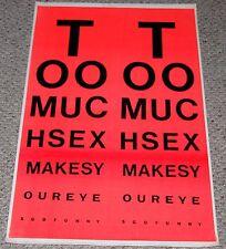 vintage Too Much Sex Eye Chart Orange Blacklight Poster 1970's Head Shop Humor