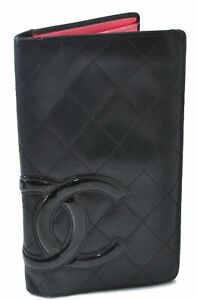 Authentic CHANEL Calf Skin Cambon Line CC Logo Long Wallet Black C3191