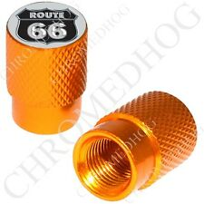 2 Gold - Billet Aluminum Custom Valve Caps for Motorcycle & Cars - US Route 66