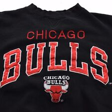 VTG 90s Black CHICAGO BULLS Logo Athletic Large 50/50 Crewneck Sweatshirt NBA