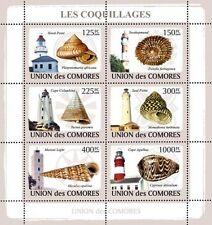 Shells and Lighthouses Marine Life Comoros Comores 2009 m/s Sc.1083 MNH #CM9106a