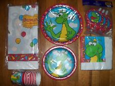 7pc Lot Party Express Dudley the Dragon Birthday Party Goods Multi-color NOS
