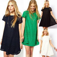 Fashion Women's Loose Lace Floral Short Sleeve Evening Cocktail Party Mini Dress