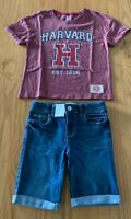 Girls size 8 Burgundy HARVARD t-shirt & blue denim knee length shorts Target NEW