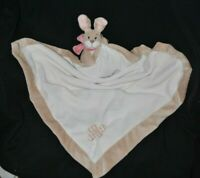 Peluche doudou lapin oscarine NOUKIE'S blanc beige noeud rose couverture TTBE