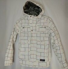 Burton Dryride Men's Multi White Check Ski Jacket Sz Small Hooded Zip Snap Front