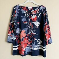 Charter Club Navy Red White Floral Striped Long Sleeve Top Womens Size Small