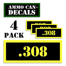 .308 Ammo Can Label 4x Ammunition Case stickers decals 4 pack YW MINI 1.5in
