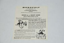 Replacement Parts: Parker Brothers Monopoly Game 1961 Rules for a Short Game