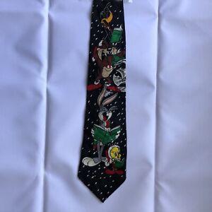 "Looney Tunes Mania Mens Designer Christmas Carols 100% Silk Tie 4"" x 54"" BLACK"