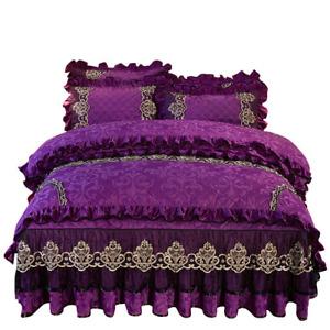 2021 Home Velvet Bedding Set Duvet Cover 4 Pcs European Quilted Lace Bed Skirt