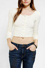 URBAN OUTFITTERS PINS AND NEEDLES BUTTON DOWN CROPPED TOP M NEW BORDO