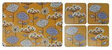 Set de 4 Prairie Fleur Pissenlit Jaune Liège Soutenu Napperons et dessous Verre