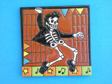 Day Of The Dead 50's Dancer Elvis Skeleton 6x6 Mexican Talavera Art Tile New N2
