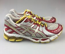 Women's 7.5 ASICS Gel-Kayano 17 Red Silver Yellow Running Athletic Shoes 7012