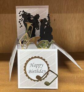 Beautifully Handmade Jazz Band/ Brass Instruments themed Pop up card