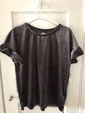 Old Navy Glitter Velvet Top Ruffle Short Sleeve Women's Size:M Charcoal NWT