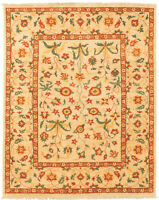 "Hand-knotted Carpet 4'10"" x 7'2"" Bordered, Floral, Traditional Wool Rug"