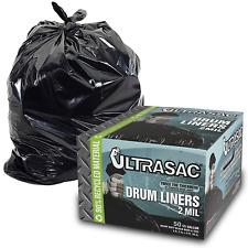 Aluf Plastics Heavy Duty 55 Gallon Trash Bags, Large 50 Pack /w Ties