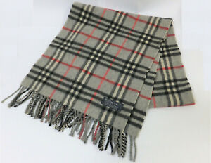 AUTHENTIC BURBERRYS MADE IN ENGLAND 100% CASHMERE CHECK GRAY MUFFLER SCARF NR