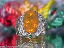 $2,689 IMPECCABLE! SHOPNBC RAMSEY 14K ORANGE FIRE OPAL EMERALD DIAMOND RING