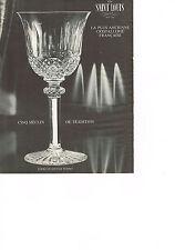 PUBLICITE  1965   SAINT LOUIS  CRISTAL service verres TOMMY