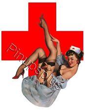 Retro Red Cross Naughty Nurse Pinup Girl Waterslide Decal S548