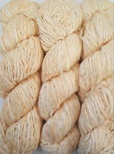 1 Quality Cream Color Recycled Soft Silk Sari Knitting Woven Yarn 100 grams