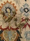 Pair Rococo Gilded Brass Candelabra Sconce Wall Decor .