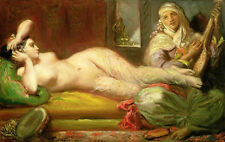 Excellent oil painting Naked Arab Young girl sleeping on bed Hand painted