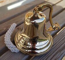 "5"" Brass Ship Bell Wall Hanging Bracket Pub School Dinner"