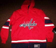 "WASHINGTON CAPITALS ""Cross Check"" Full Zip Hooded Jacket Hoody RED MEDIUM LG XL"