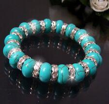 Armband Perlen türkis Perlenarmband stretch Damen Modeschmuck ArmSchmuck A455