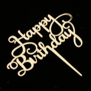 Acryl Happy Birthday Cake Topper Tortenstecker Geburtstag Deko - Gold