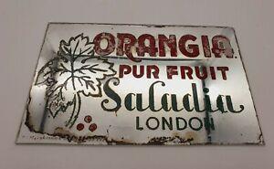 VINTAGE ORANGIA PUR FRUIT ADVERTISING MIRROR C1930S