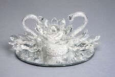 Romantic Pair of Crystal Swan with LED illuminated Crystal filled Lotus Ornament