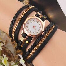 Womens Multilayer Faux Leather Bracelet Quartz Watch BLACK - SAME DAY DISPATCH