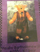 Whistlepig Creek Peabody Barthalonew III Bear & Clothes Sew Pattern Leaflet VTG
