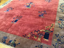 Antique Hand woven Art Deco Chinese Rug, 9ft  by 12ft 1920s dark terra cotta