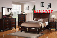 Modern Storage Queen Cal King Est King Size Bed Cherry Finish Bedroom Furniture