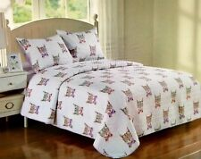 New Ivy Hill Home Quilt and Sham 2 Piece Set Cats With Glasses Twin