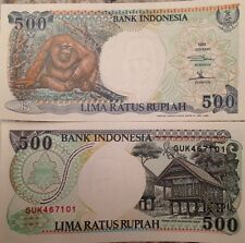 INDONESIA 1992 500 RUPIAH UNCIRCULATED NOTE P-128 ORANGUTANG FROM A USA SELLER
