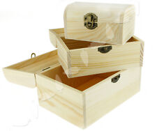 3x Plain Wooden Jewellery Storage Box Case Natural Treasure Chest NEW