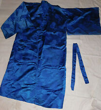 Silky Blue Floral Print Kimono Belt Womens Robe Dress Japanese Geisha Costume