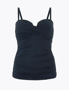Lovely BNWT M&S navy Secret Slimming tummy control wrap bandeau tankini