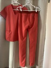 Figs Scrubs Orange - cargo scrub pants -Xs tall and 3 pocket scrub top - Xs