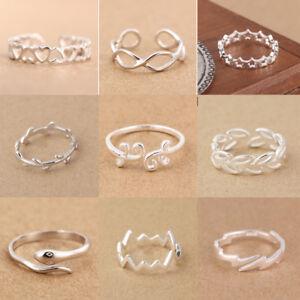 Genuine Solid 925 Sterling Silver Adjustable Open Band Index/Midi Ring Finger